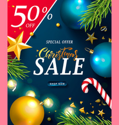christmas sale web banner holiday background with vector image