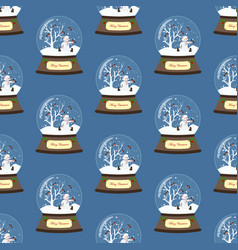christmas snow globe with snowman seamless pattern vector image
