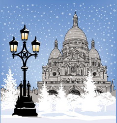christmas snowy city skyline winter holiday snow vector image