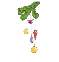 Christmas toys hanging on a furry branch vector image