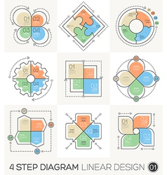 Circle Gear Arrows set Linear line design elements vector image