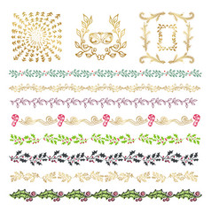 collection colorful hand drawn decorative vector image
