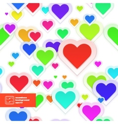 Colorful Paper Hearts Seamless Pattern vector image
