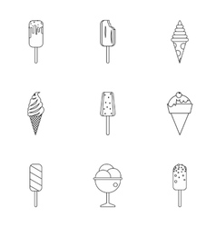 Cool treat icons set outline style vector