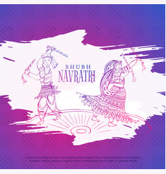 Couple playing dandiya in navratri dusseshra vector