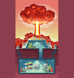 Cross section of nuclear shelter explosion vector