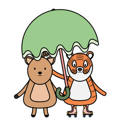 Cute tiger and reindeer with umbrella childish vector