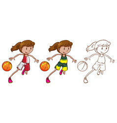 drafting character for female basketball player vector image
