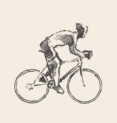 Drawn bicyclist rider man sketch bicycle vector