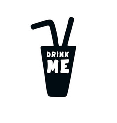 Drink me doodle hand drawn vector