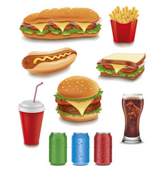 Fast food items-hamburger fries hotdog drinks vector