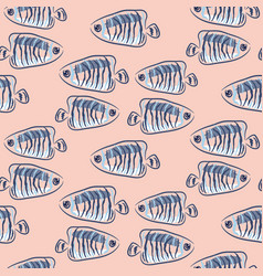 fish pink and blue marine cute seamless pattern vector image