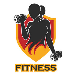 Fitness emblem with training girl and shield vector