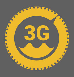 flat 3g logo with speed meter icon and wave vector image