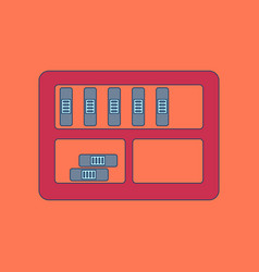 Flat icon with thin lines folder shelf vector