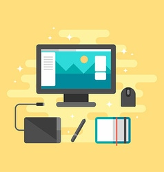 Flat Style Workplace for Graphic Designer Desktop vector