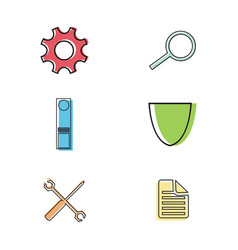 flat thin line business icons vector image