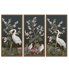 Folding screen in chinoiserie style with storks vector