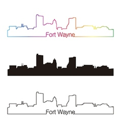 Fort wayne skyline linear style with rainbow vector