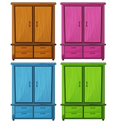 Four different colors of a wooden cabinet vector