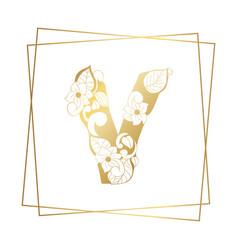 Golden ornamental alphabet letter v font on white vector
