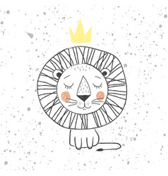 Hand drawn king lion for kids t-shirt design vector