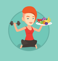 healthy woman with fruits and dumbbell vector image