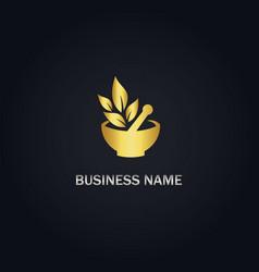 Herbal mortar organic gold logo vector