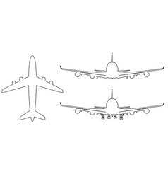 high-detailed plane with line art style vector image