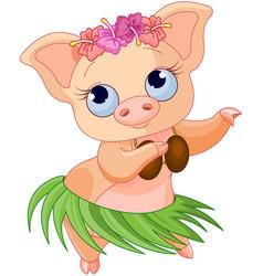 hula dancing pig vector image