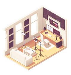 isometric video blogger studio vector image