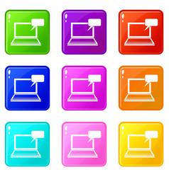 laptop with bubble speech set 9 vector image