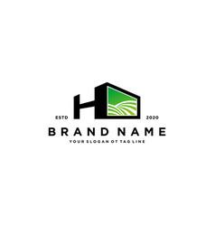 Letter h and garden logo design vector