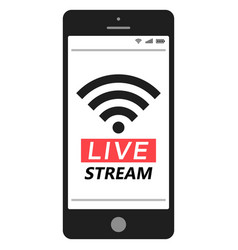 live stream smartphone social media network vector image