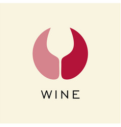 Logo for red and rose wine circle with negative vector