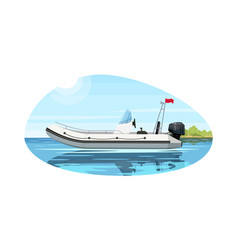 Luxury boat with engine semi flat vector