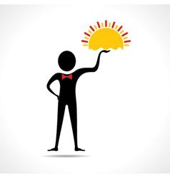 Man holding sun icon vector