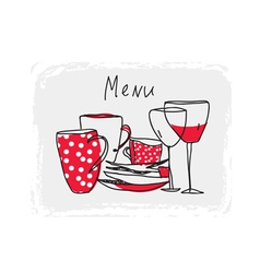 Menu hand drawn design with pottery vector