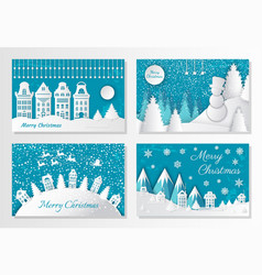 Merry christmas greeting cards mountains and city vector