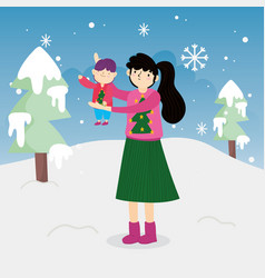 merry christmas mother carrying little son trees vector image