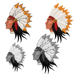 Native american head in color and grayscale image vector