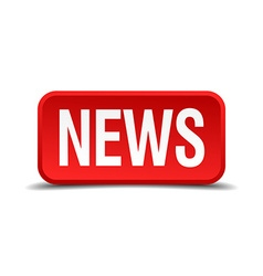 News red 3d square button isolated on white vector image