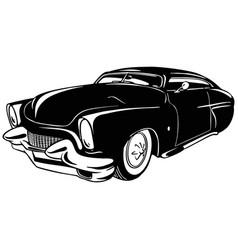 Old classic car 1950 vintage car stencil vector