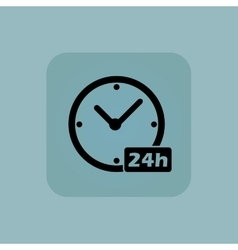 Pale blue 24h workhours icon vector