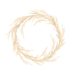 Pampas grass golden wreath vector