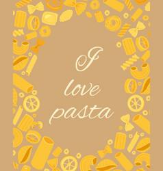 Pasta different types fusilli spaghetti gomiti vector