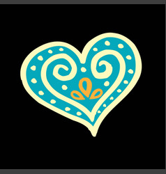 patterned blue heart on a black background vector image