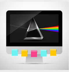 personal computer with prism on screen and vector image