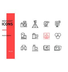 photography concept - line design style icons set vector image