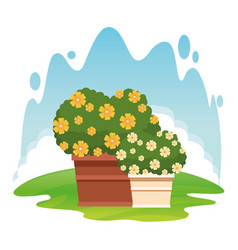 Plant pot with flowers icon cartoon vector